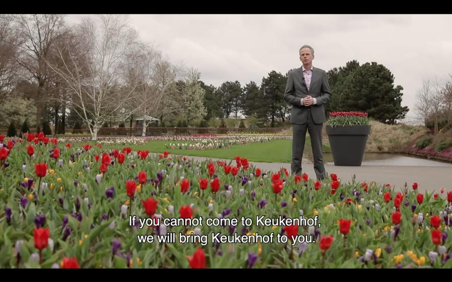 Bart Siemerink, the managing director of Keukenhof, leads a virtual tour of the famous gardens on the outskirts of Lisse, Netherlands, in this screen shot from YouTube video. Keukenhof is closed to the public this year because of the coronavirus.