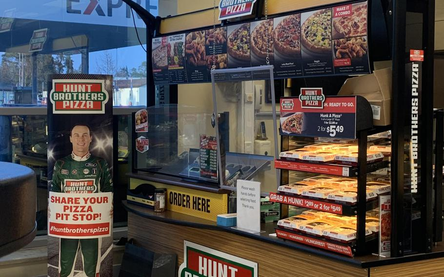 The Hunt Brothers Pizza kiosk is located inside the Grafenwoehr Shopette Express.