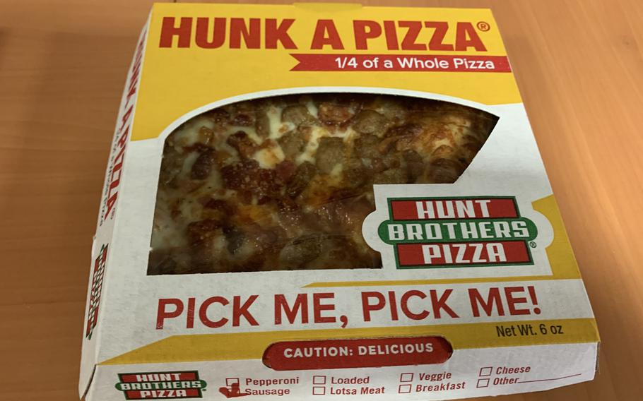 """The """"Hunk a Pizza"""" at Hunt Brothers in Grafenwoehr, with with sausage and bacon."""