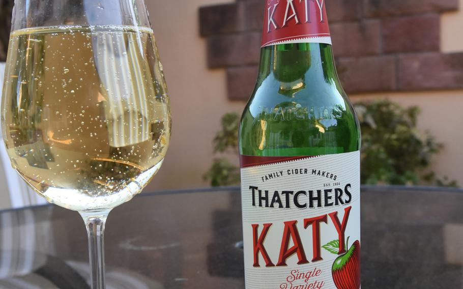 Thatchers Katy cider is among the refreshing English ciders and other drinks available by the bottle for takeout at Neil's Pub in Mackenbach, Germany.