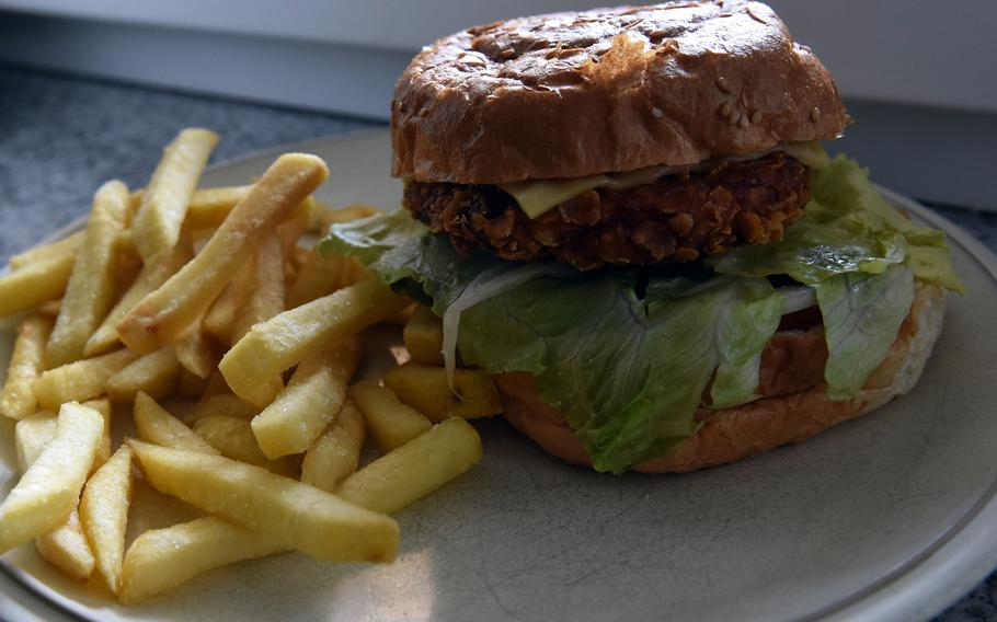 The crispy chicken burger from Neil's Pub in Mackenbach, Germany, is a tasty alternative to beef. The restaurant offers a full takeout menu of pub and other fare while coronavirus restrictions remain in effect.