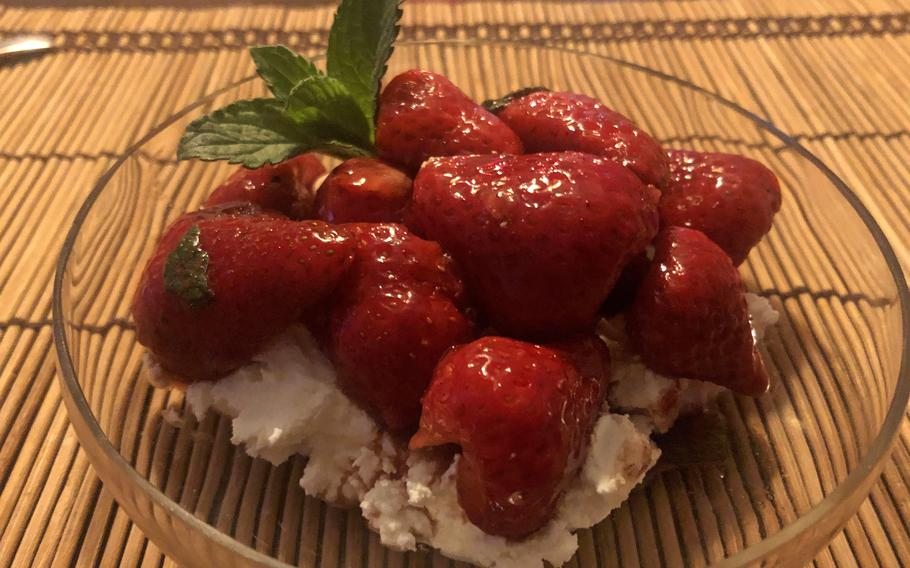Balsamico strawberries, made with balsamic vinegar,  mascarpone and mint, as served for desert.