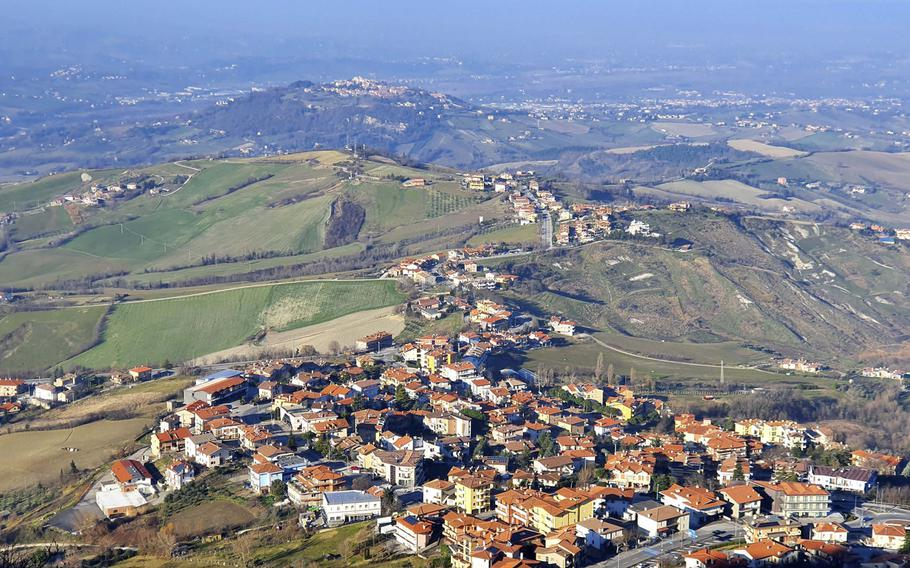 View of part of the country of San Marino, from San Marino City, which  was built on Mount Titano, one of the peaks of the Apennine mountains.