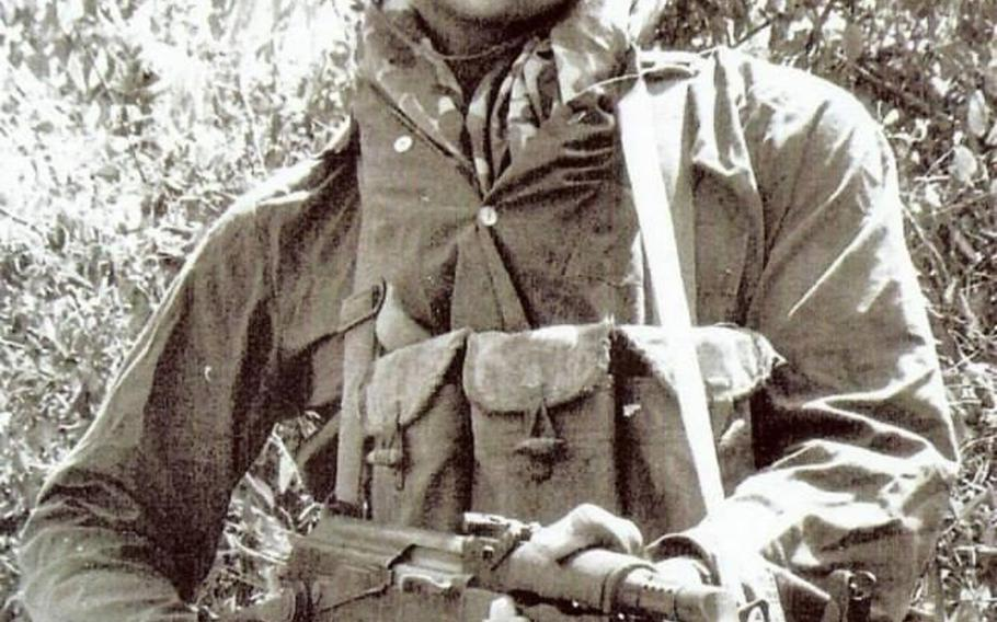 Patrick Gavin Tadina is pictured here in an undated photo wearing North Vietnamese Army fatigues and carrying an AK-47, as he often did as a long range reconnaissance patrol team leader over five years straight serving in Vietnam during the war. One of the most-decorated enlisted soldiers of the Vietnam War, Tadina retired as a command sergeant major in 1992. He died Friday, May 29, 2020, at age 77.