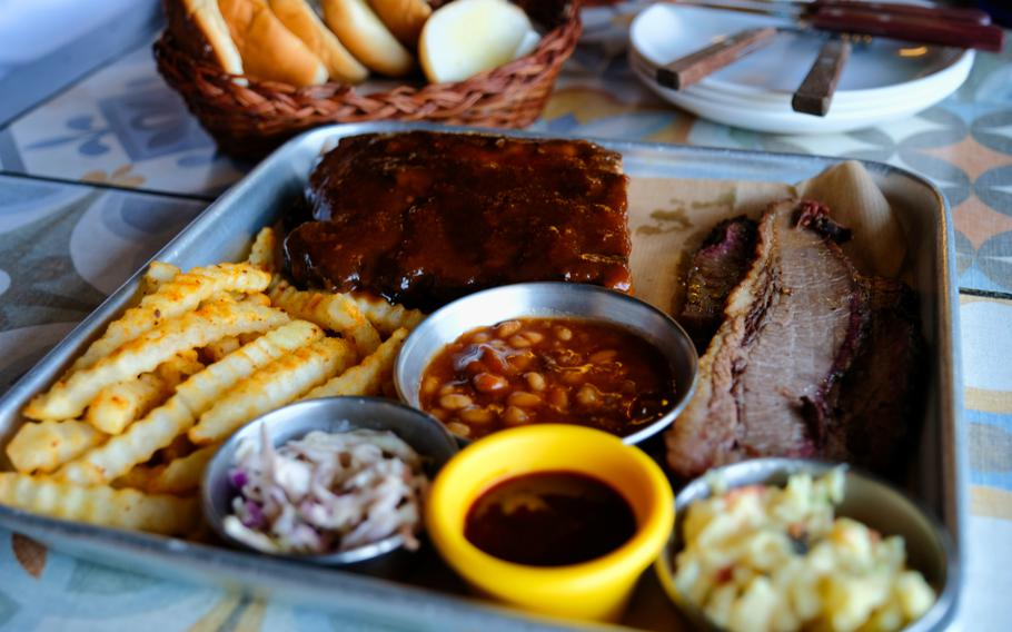 The ribs and brisket platter for two from La Mesa Flying Geckos in Pyeongtaek, South Korea, is a combo worth sharing with friends or family.