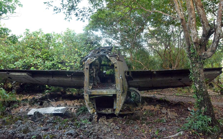 It's worth the short trip on Andersen Air Force Base, Guam, to check out the tail section of a B-52E Stratofortress that was blown into the jungle during a super typhoon in 1976.