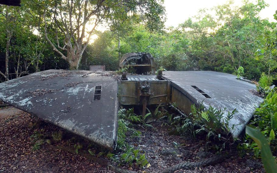 The remains of a B-52E bomber at Andersen Air Force Base, Guam, look like something out of a science-fiction movie.