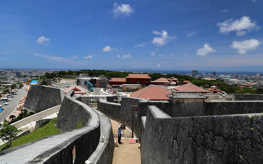 A view from the Agari-no-Azana observation area, where visitors can see the entire Shuri Castle grounds on Okinawa.