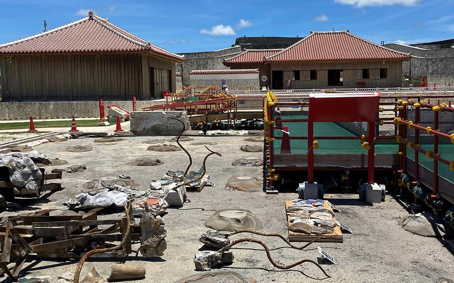 Dairyuchu, or the great dragon pillars, were destroyed by the fire at Shuri Castle, Okinawa, on Oct. 31, 2019. The remnants are exhibited on the ground.