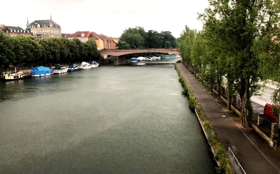 The French city of Sarreguemines seen from a bridge that crosses the Saar River on Wednesday, June 17, 2020. The city is accessible by bike from Germany via the 80-mile Glan-Blies bike path, which runs past Ramstein Air Base as it wends its way through Rheinland-Pfalz and Saarland to France.