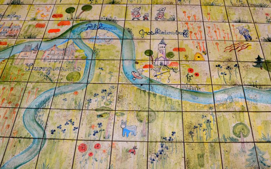 A map made of ceramic tiles that lies near the part of the Glan-Blies bike path that runs through Sarreguemines, France. Sarreguemines is known for ceramics.