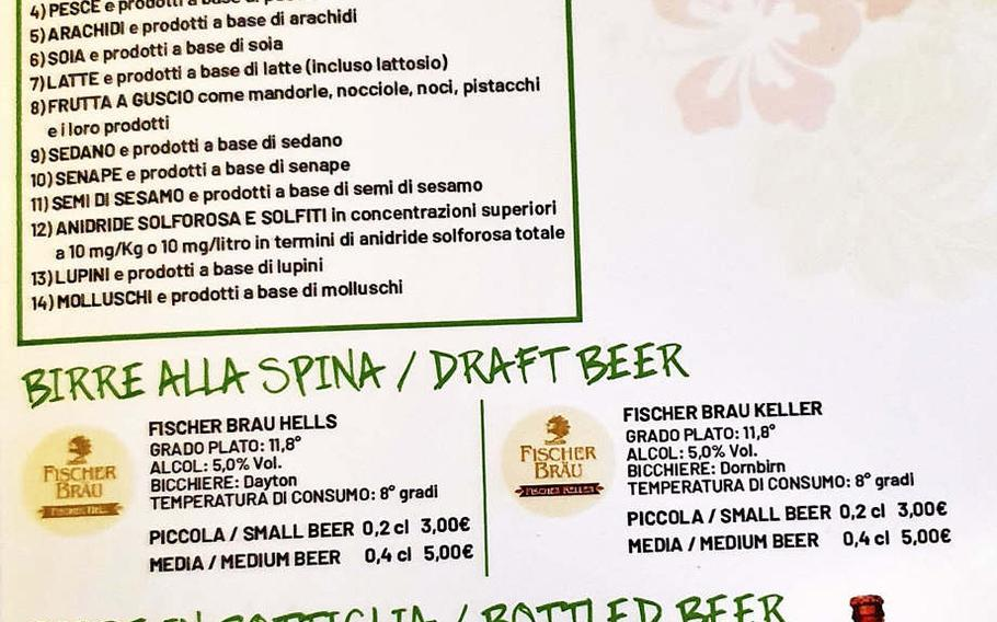 A menu page showing available desserts, draft beer and wine at Boom Brasil, a recently opened restaurant in Sacile, Italy. The restaurant serves traditional Brazilian cuisine as well as fantastic cocktails.