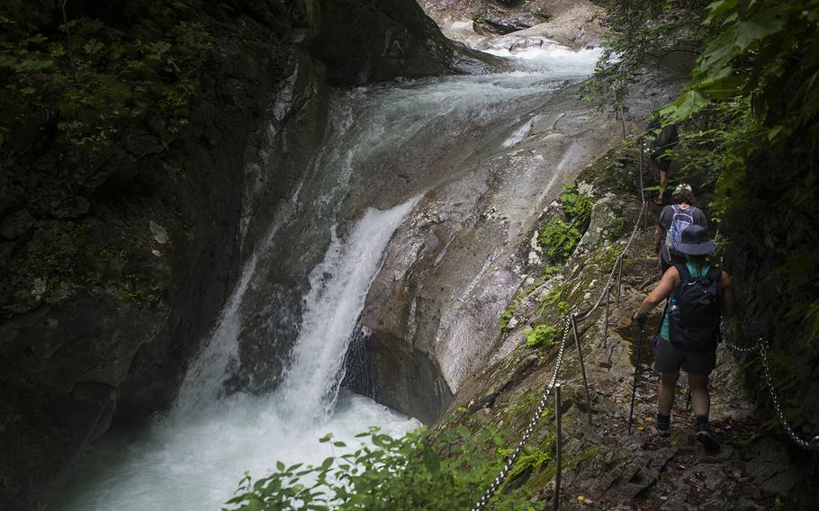 Gorgeous waterfalls are just feet away during the hike to Nishizawa Gorge in Yamanashi prefecture, Japan.