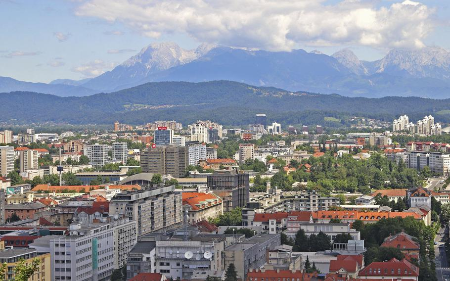 View of Slovenia's capital city, Ljubljana, from the courtyard of the castle perched above the city.