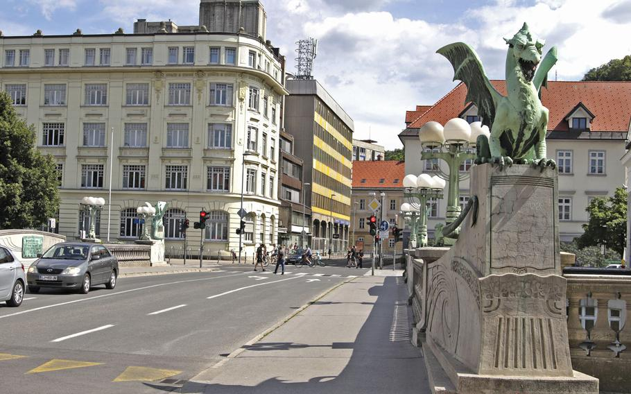 The Dragon Bridge, in Ljubljana, Slovenia, is adorned with dragon statues. Constructed between 1900 and 1901, the bridge was Ljubljana's first reinforced concrete structure and one of the largest bridges of its kind to be built in Europe.