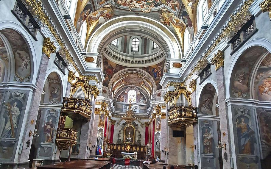 St. Nicholas' Cathedral in Ljubljana, Slovenia, was completed in 1707 and is Ljubljana's most important and best-preserved religious building. The church's interior is decorated with vivid frescoes depicting the many miracles of St Nicholas.