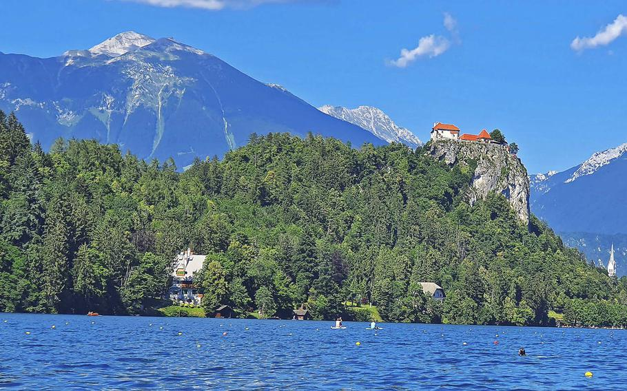 Lake Bled Castle as seen from the middle of Lake Bled. Built in the 16th century, the castle offers spectacular views of the lake and the city of Bled.