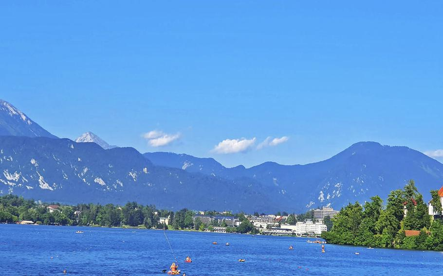 A view of Bled Island, right, and Bled Castle, left, from Lake Bled, in Slovenia.