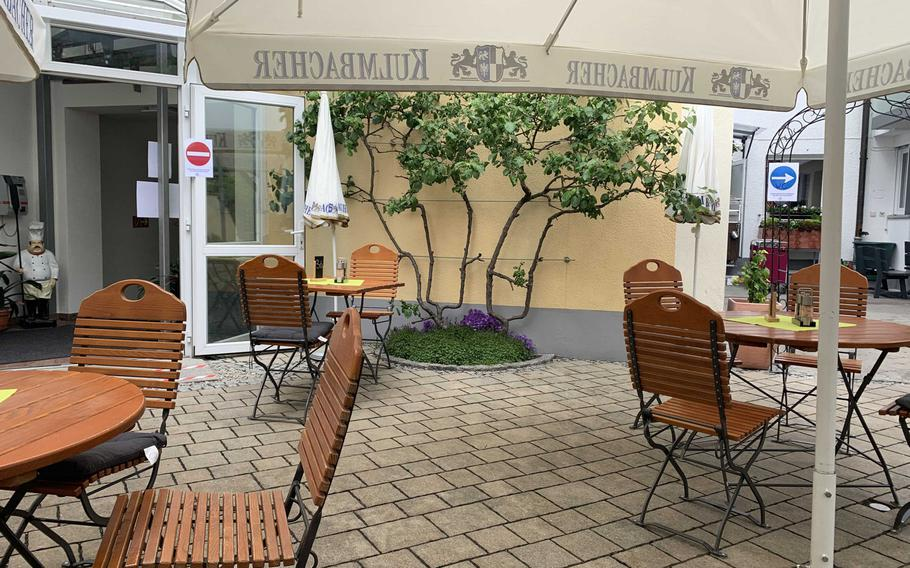 Zum Stich'n in Grafenwoehr, Germany, as seen May 22, 2020. The restaurant is offering outdoor seating only.