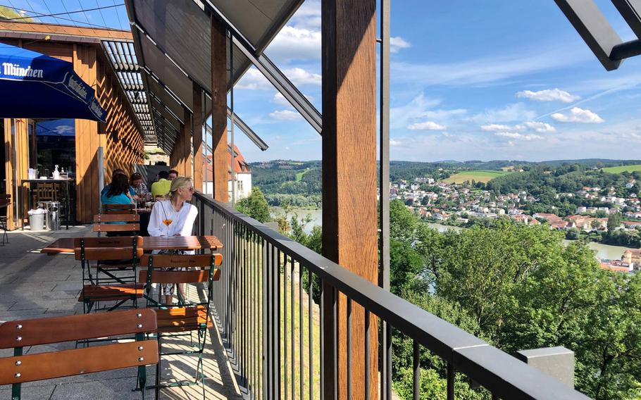 The view of Passau's old center and the confluence of the Inn and Danube rivers from the terrace of the Oberhaus restaurant.