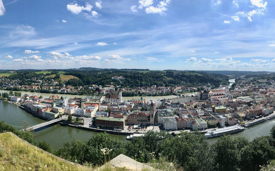 A panorama of the meeting point of the Inn and Danube rivers at Passau in southern Germany, before the Danube crosses over into Austria on its way to the Black Sea.