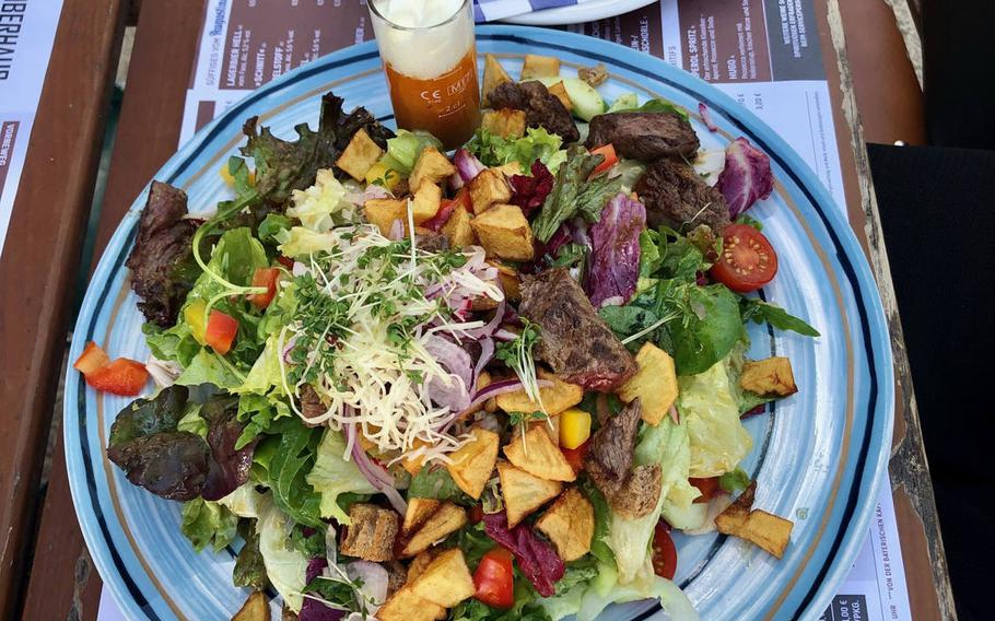 An Augustiner-Salat at the Oberhaus restaurant in Passau, Germany, consists of roast beef, baked potatoes and a beer dressing of vinegar, oil, beer, salt, pepper and mustard.
