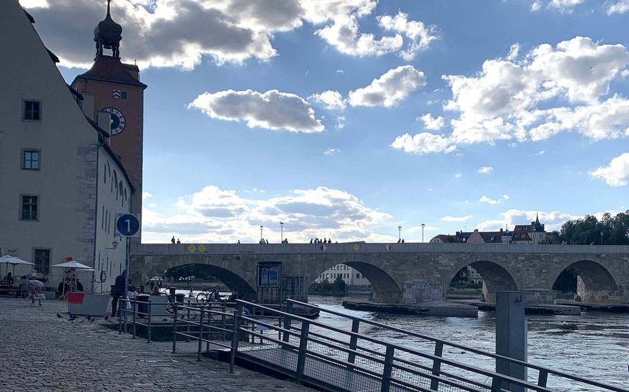 Regenburg, Germany's historic Stone Bridge dates back to the 12th century. The bridge provides tranquil views of much of Regensburg.