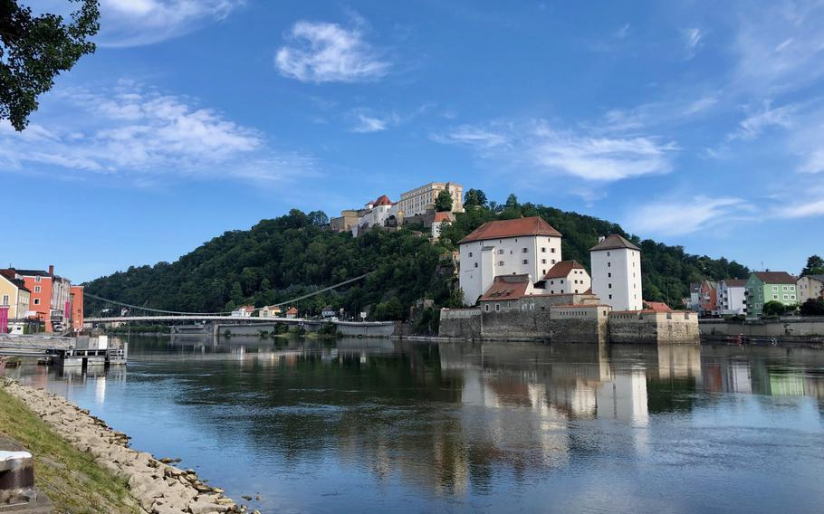 The Danube River at Passau, with the immense Veste Oberhaus fortress perched on the hill overlooking the old town.