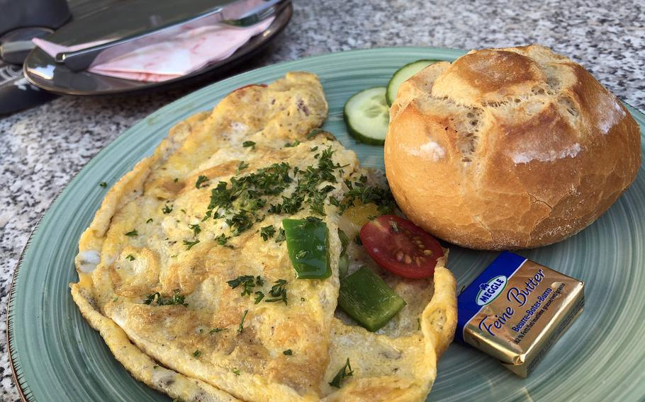 Omelets are a hearty breakfast choice at ZeitLos Cafe and Bistro in Rodenbach, Germany. The vegetable omelet comes with tomatoes, bell pepper and cheese.