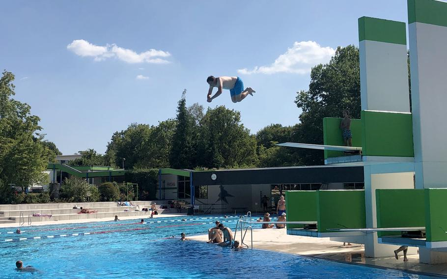 There are three diving boards at the deep end of the Trippstadt pool in Germany.
