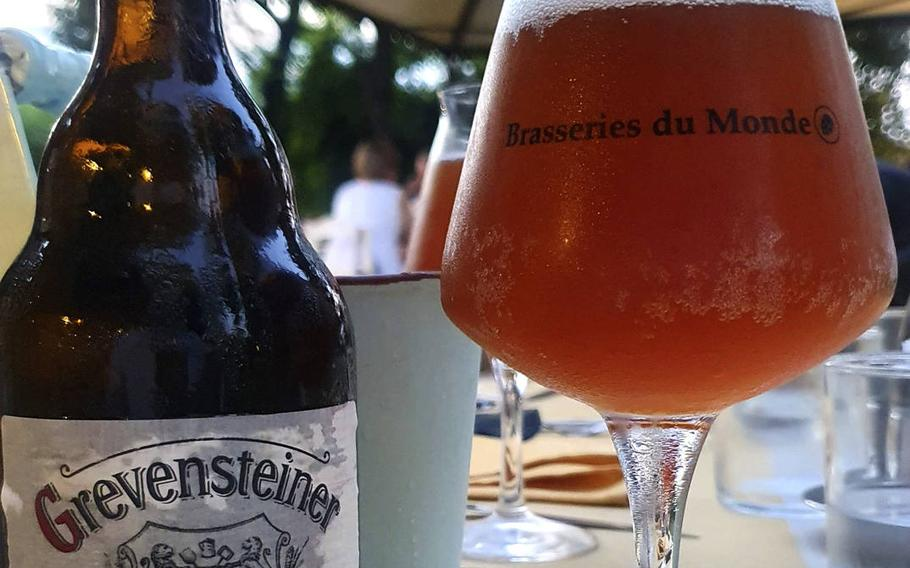 Ristorante Pizzeria La Conca's imported beer offerings include this one, a delicious Grevensteiner German pale ale.