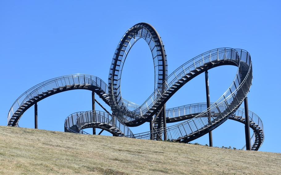 """Tiger & Turtle - Magic Mountain is an art installation billed as a """"walkable roller coaster."""" The attraction in the northern German city of Duisburg is currently closed due to the coronavirus pandemic."""