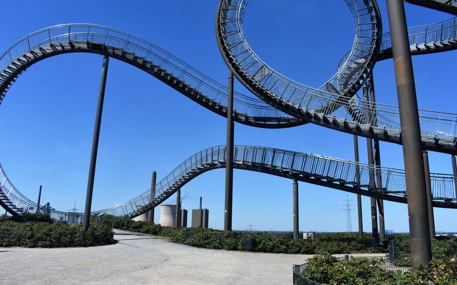 """Though it's currently closed due to the coronavirus pandemic, visitors to Tiger & Turtle - Magic Mountain are typically able to walk along the looping steel walkways of the """"walkable roller coaster."""""""