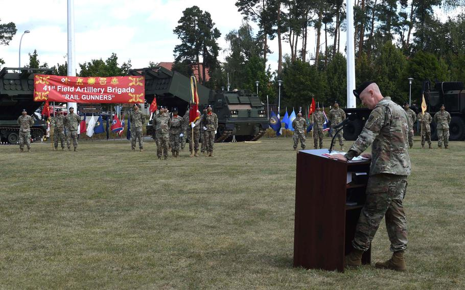 Col. Seth Knazovich, right, the departing commander of the 41st Field Artillery Brigade, speaks during a change-of-command ceremony the same day the 1st Battalion, 77th Field Artillery Regiment was activated at Grafenwoehr, Germany, on Thursday, Aug. 27, 2020.