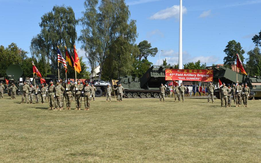 The 41st Field Artillery Brigade held a change-of-command ceremony during which Col. Seth Knazovich relinquished command to Col. Daniel Miller and the 1st Battalion, 77th Field Artillery Regiment was activated at Grafenwoehr, Germany, on Thursday, Aug. 27, 2020.