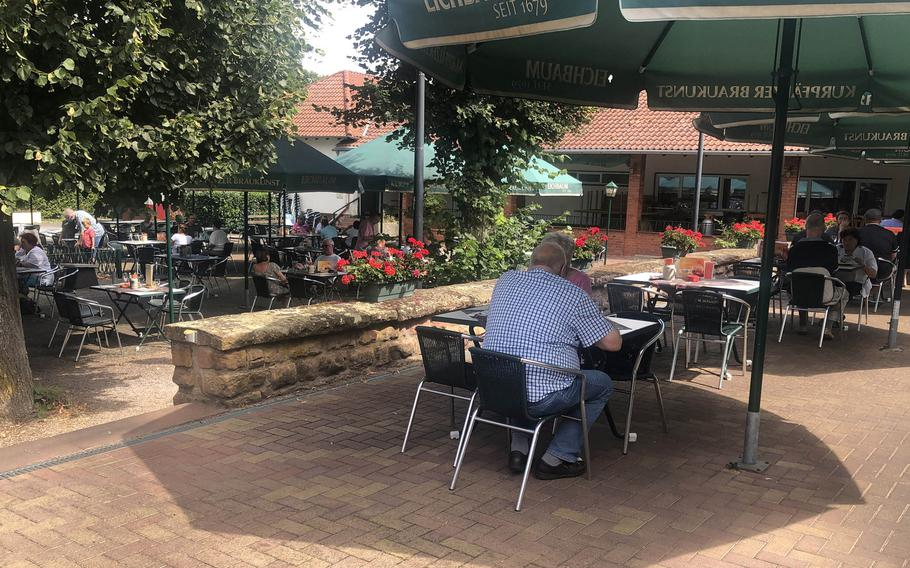 The beer garden at Licht-Luft in Kaiserslautern, Germany, is a nice shady place for lunch on a hot afternoon, although not as as leafy as the one at Quack nearby.
