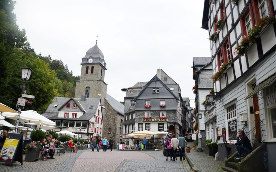 The Evangelical Church dominates the main square in the town of Monschau, Germany, on Sept. 1, 2020. Restaurants on the square offer German and Italian cuisine, homemade ice cream and local specialties featuring mustard.