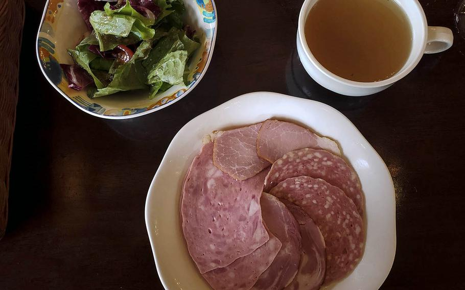 Plates of cold cuts and soups and salads are among the appetizer options at Stuben Ohtama in the city of Fussa in western Tokyo.