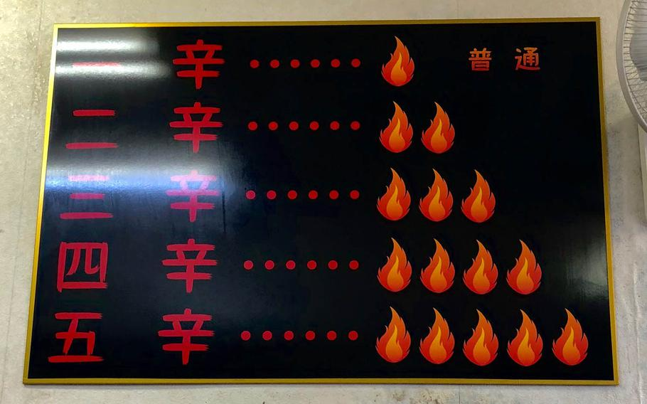 There are five heat levels to choose from at Ikeda Spicy Noodle in Yokosuka, Japan. Level five may leave you drenched in sweat.