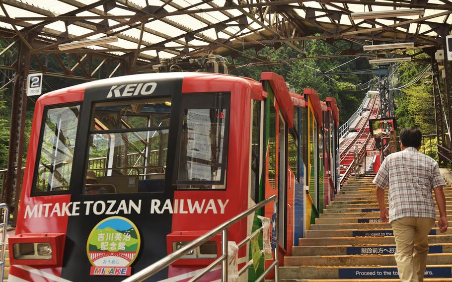Visitors to Mount Mitake in Japan can take a six-minute funicular ride to reach the hiking trail.