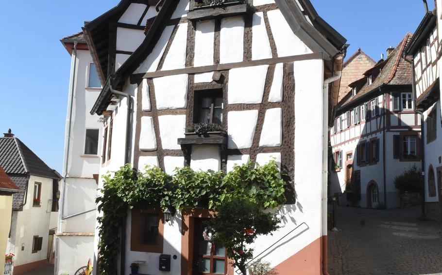This half-timbered house stands at a crossroads in the 800-year-old wine village of Neuleiningen, Germany, the starting point of the second and longest stage of the Pfalz Wine Trail, a hiking path that traverses about 105 miles through vineyards, rolling hills and forest from Bockenheim to the German Wine Gate in Schweigen-Rechtenbach.