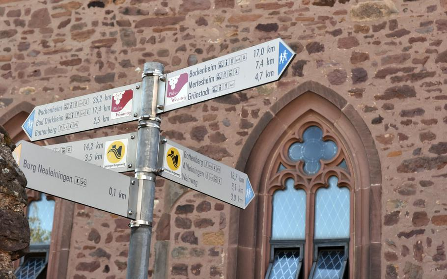 A sign in the village of Neuleiningen, Germany, points the way to Battenberg, the next village along the second stage of the Pfalz Wine Trail. The second leg of the 105-mile route ends in Bad Duerkheim.