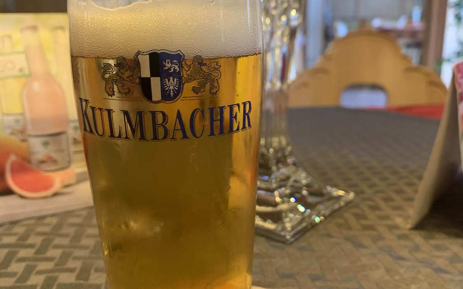 A German helles is a great way to start off a meal at  Pizzeria Santa Lucia II in Grafenwoehr, Germany.