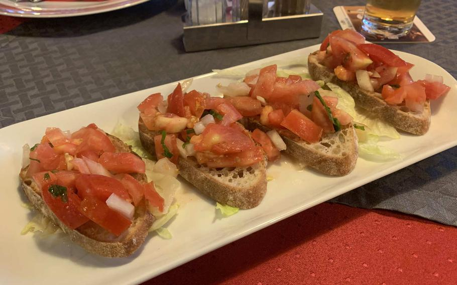 The bruschetta with tomatoes and onions is a light start before the heaping main meals at Pizzeria Santa Lucia II in Grafenwoehr, Germany.
