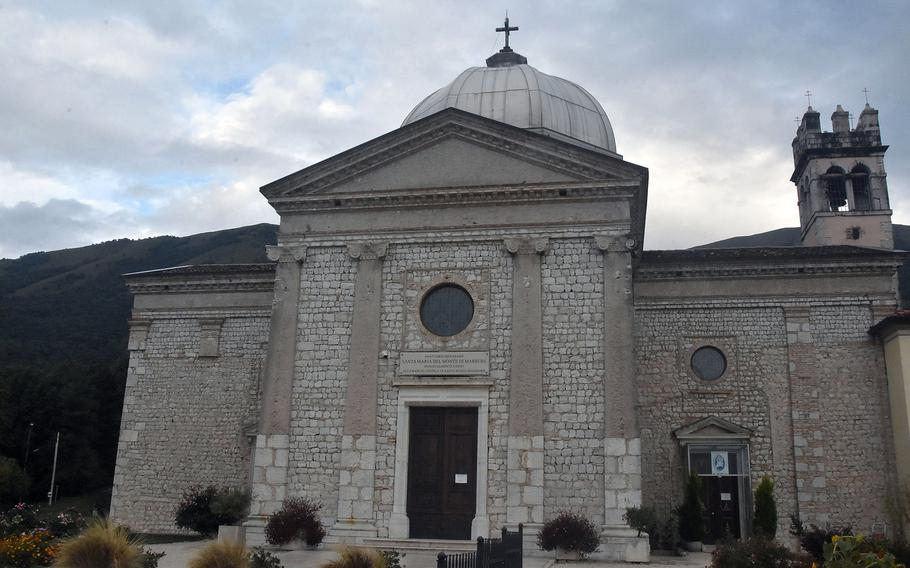 The St. Mary of the Mountains Roman Catholic Church in Marsure is built about a third of the way up the foothills that run into the Alps and is visible from Area 1 at Aviano Air Base, Italy. The view of Aviano from its gardens is probably the best there is.