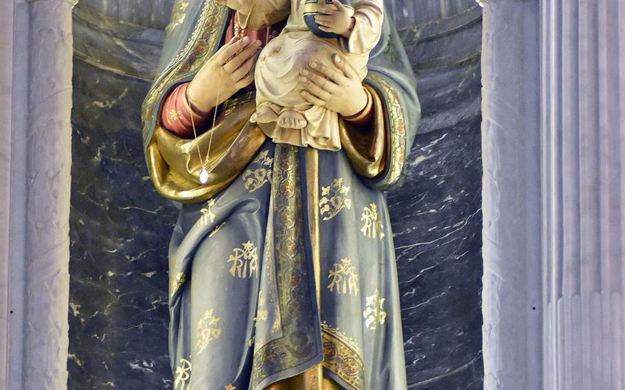 This sculpture of the Madonna and baby Jesus is one of the focal points of the interior of the St. Mary of the Mountains Roman Catholic Church, a short drive from Aviano Air Base, Italy.