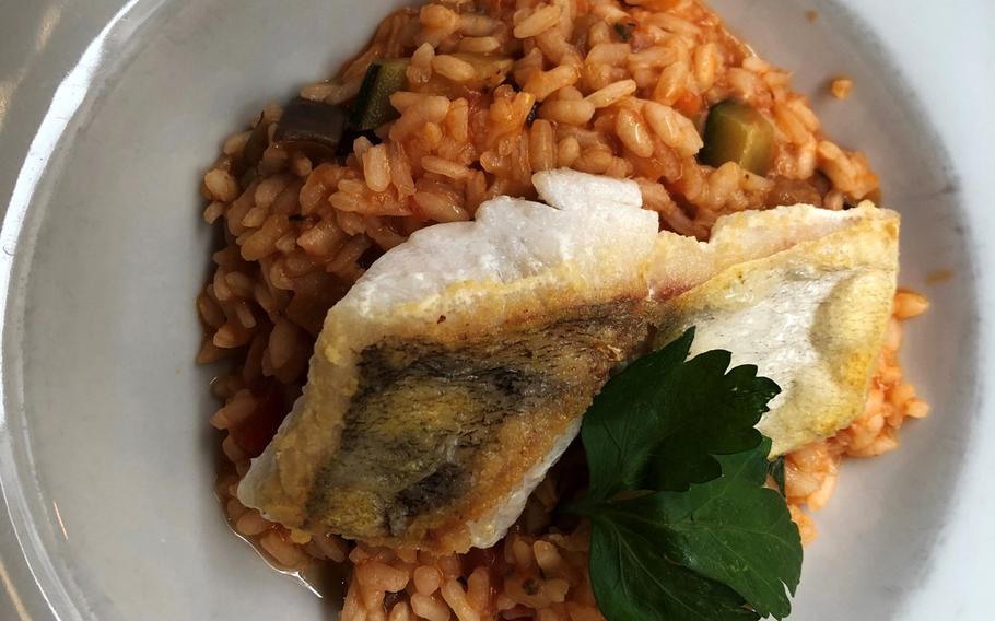 The risotto with pike perch at Due Amici in Wiesbaden, Germany.