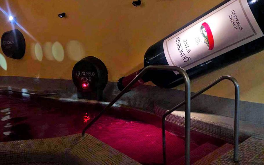 The wine bath at Hakone Kowakien Yunessun in Japan is refllled multiple times a day by employees who pour bottles into the pool.