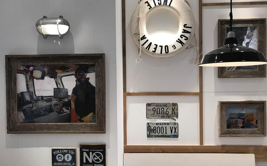 Luke's Lobster, a New York City-based seafood chain that opened a location at the new Iias Okinawa Toyosaki mall in June 2020, is small and inviting, with photographs of lobstermen and Maine license plates decorating the walls.