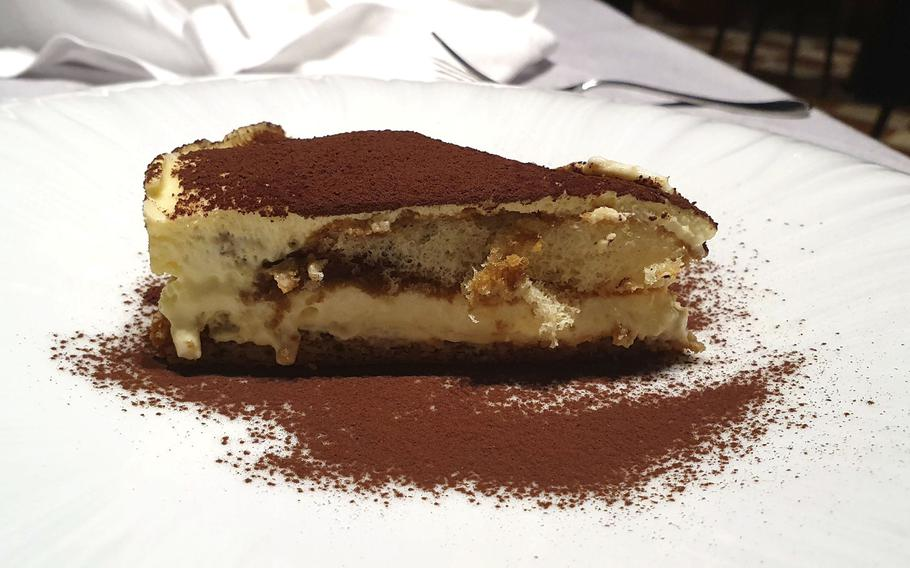 Tiramisu dessert is on the menu at Bar Trattoria Cavour in Sacile, Italy. Located about 9 miles southwest of Aviano Air Base, the restaurant offers an elegant, upscale atmosphere and delicious food.